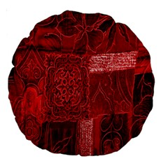 Red Background Patchwork Flowers Large 18  Premium Round Cushions