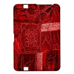 Red Background Patchwork Flowers Kindle Fire Hd 8 9