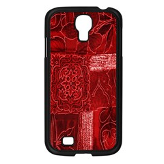 Red Background Patchwork Flowers Samsung Galaxy S4 I9500/ I9505 Case (Black)