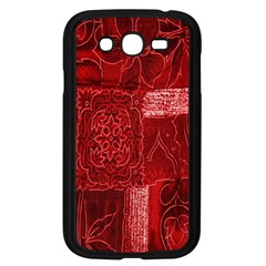 Red Background Patchwork Flowers Samsung Galaxy Grand Duos I9082 Case (black)
