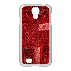 Red Background Patchwork Flowers Samsung GALAXY S4 I9500/ I9505 Case (White)