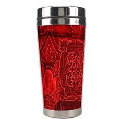 Red Background Patchwork Flowers Stainless Steel Travel Tumblers