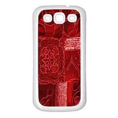 Red Background Patchwork Flowers Samsung Galaxy S3 Back Case (White)