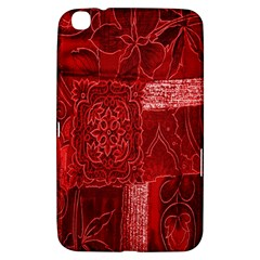 Red Background Patchwork Flowers Samsung Galaxy Tab 3 (8 ) T3100 Hardshell Case