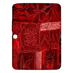 Red Background Patchwork Flowers Samsung Galaxy Tab 3 (10.1 ) P5200 Hardshell Case