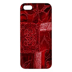 Red Background Patchwork Flowers iPhone 5S/ SE Premium Hardshell Case