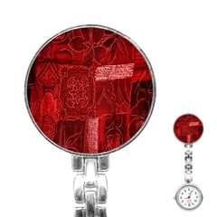 Red Background Patchwork Flowers Stainless Steel Nurses Watch
