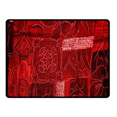 Red Background Patchwork Flowers Double Sided Fleece Blanket (small)