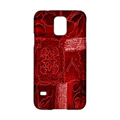 Red Background Patchwork Flowers Samsung Galaxy S5 Hardshell Case