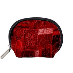 Red Background Patchwork Flowers Accessory Pouches (small)