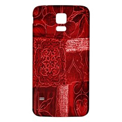 Red Background Patchwork Flowers Samsung Galaxy S5 Back Case (white)