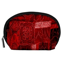 Red Background Patchwork Flowers Accessory Pouches (Large)