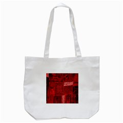 Red Background Patchwork Flowers Tote Bag (White)