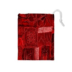 Red Background Patchwork Flowers Drawstring Pouches (Medium)