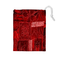 Red Background Patchwork Flowers Drawstring Pouches (Large)