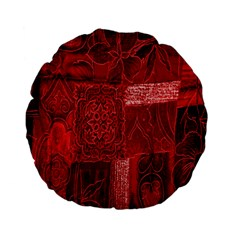 Red Background Patchwork Flowers Standard 15  Premium Flano Round Cushions