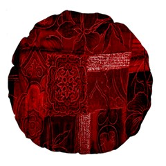 Red Background Patchwork Flowers Large 18  Premium Flano Round Cushions