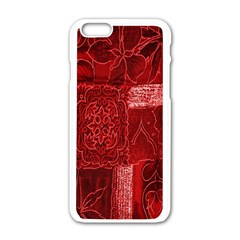 Red Background Patchwork Flowers Apple Iphone 6/6s White Enamel Case