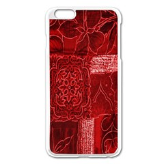 Red Background Patchwork Flowers Apple iPhone 6 Plus/6S Plus Enamel White Case
