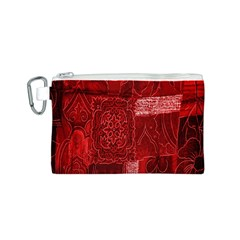 Red Background Patchwork Flowers Canvas Cosmetic Bag (s)