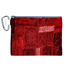 Red Background Patchwork Flowers Canvas Cosmetic Bag (xl)