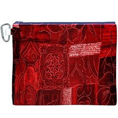Red Background Patchwork Flowers Canvas Cosmetic Bag (XXXL)