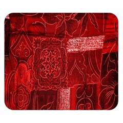 Red Background Patchwork Flowers Double Sided Flano Blanket (small)