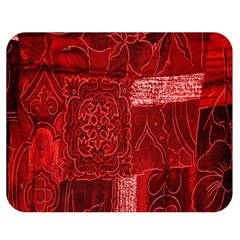 Red Background Patchwork Flowers Double Sided Flano Blanket (medium)