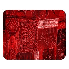 Red Background Patchwork Flowers Double Sided Flano Blanket (large)