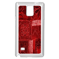 Red Background Patchwork Flowers Samsung Galaxy Note 4 Case (white)