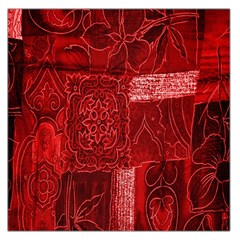 Red Background Patchwork Flowers Large Satin Scarf (square)