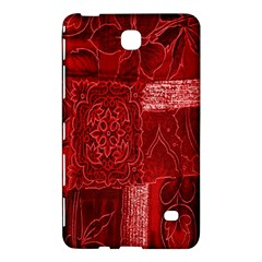 Red Background Patchwork Flowers Samsung Galaxy Tab 4 (8 ) Hardshell Case