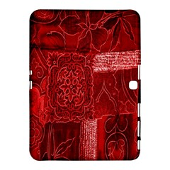 Red Background Patchwork Flowers Samsung Galaxy Tab 4 (10.1 ) Hardshell Case