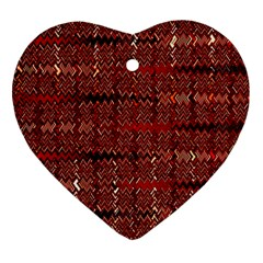 Rust Red Zig Zag Pattern Heart Ornament (two Sides)
