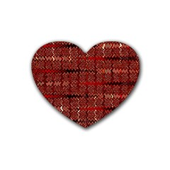Rust Red Zig Zag Pattern Heart Coaster (4 pack)
