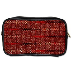 Rust Red Zig Zag Pattern Toiletries Bags
