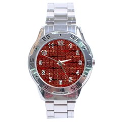 Rust Red Zig Zag Pattern Stainless Steel Analogue Watch