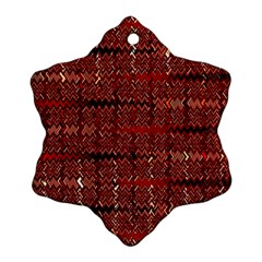 Rust Red Zig Zag Pattern Snowflake Ornament (two Sides)