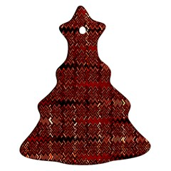 Rust Red Zig Zag Pattern Christmas Tree Ornament (Two Sides)