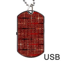 Rust Red Zig Zag Pattern Dog Tag USB Flash (Two Sides)