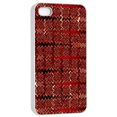 Rust Red Zig Zag Pattern Apple iPhone 4/4s Seamless Case (White)