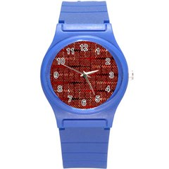 Rust Red Zig Zag Pattern Round Plastic Sport Watch (s)