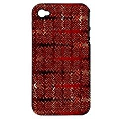 Rust Red Zig Zag Pattern Apple iPhone 4/4S Hardshell Case (PC+Silicone)