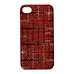 Rust Red Zig Zag Pattern Apple Iphone 4/4s Hardshell Case With Stand