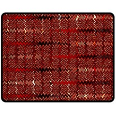 Rust Red Zig Zag Pattern Double Sided Fleece Blanket (Medium)