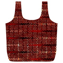 Rust Red Zig Zag Pattern Full Print Recycle Bags (L)