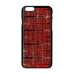 Rust Red Zig Zag Pattern Apple iPhone 6/6S Black Enamel Case