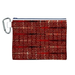 Rust Red Zig Zag Pattern Canvas Cosmetic Bag (l)