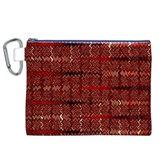 Rust Red Zig Zag Pattern Canvas Cosmetic Bag (xl)