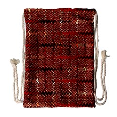 Rust Red Zig Zag Pattern Drawstring Bag (Large)